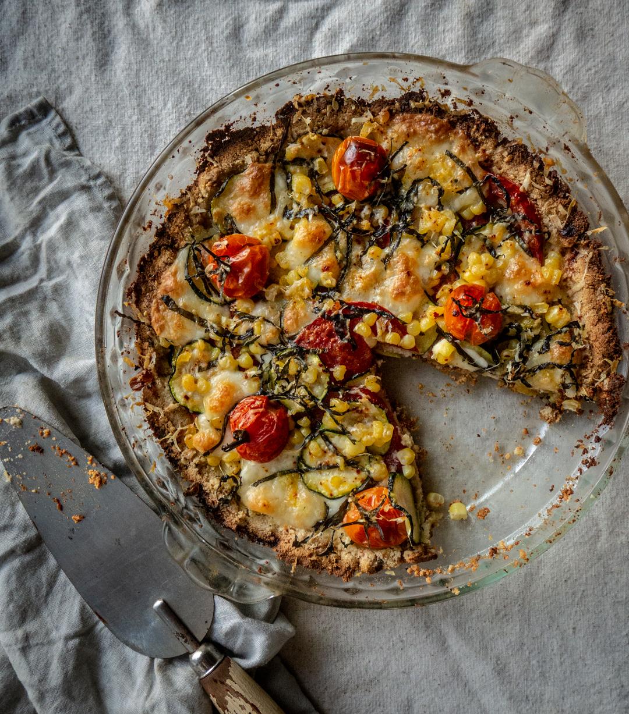 Tomato, Zucchini & Corn Pie with Almond Crust