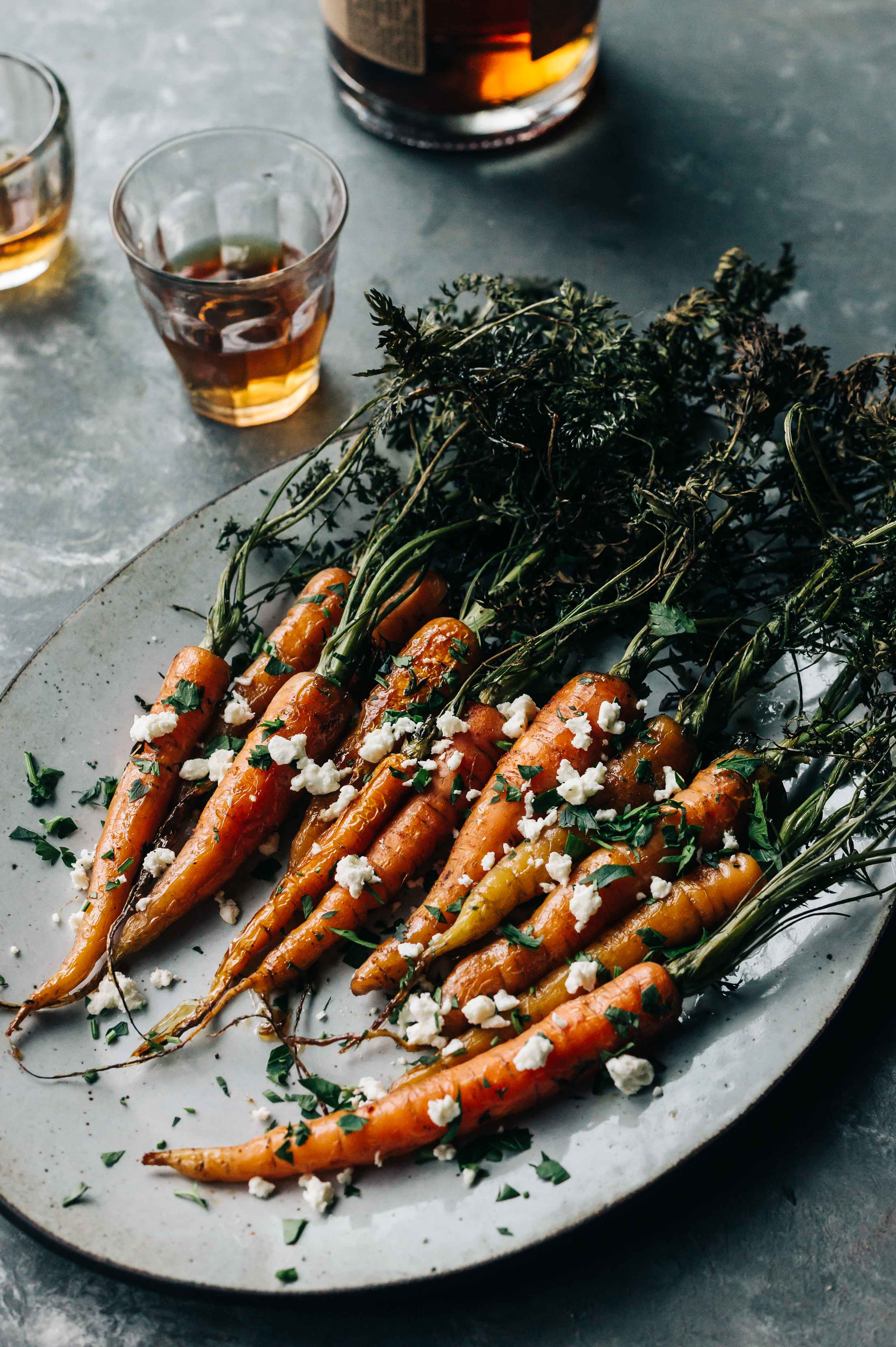 Bourbon Honey Roasted Carrots With Cayenne Feta Dishing Up The Dirt