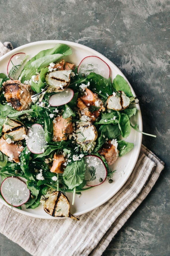 Grilled Salmon Salad With Turnips Capers Dishing Up The Dirt